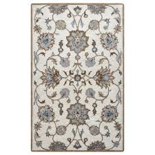 rizzy home valintino taupe floral hand tufted wool 9 ft x 12 ft