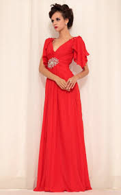 v neck cap sleeves ruched coral chiffon prom dress prom dresses in