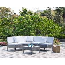 White Outdoor Wicker Furniture Sets 6 Piece White Cushion Resin Wicker Patio Sectional Set White