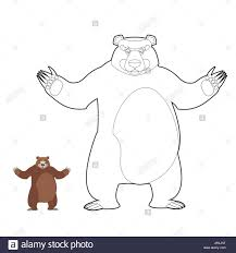 bear coloring book grizzlies in linear style good happy wild