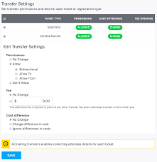 how to customize transfer settings by ticket type eventbrite support