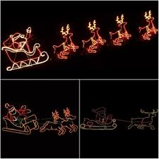 rope light silhouette animated santa reindeer with led
