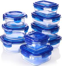 Cheap Water Storage Containers Amazon Com Glass Food Storage Container Set Blue 18 Pieces Set