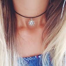 black charm choker necklace images Handmade black cord silver charm choker necklace sun charm jpg