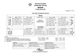 class timetable winter 2017 department of