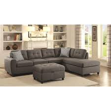 Value City Sectional Sofa by Coaster Stonenesse Grey Contemporary Sectional With Button Tufted
