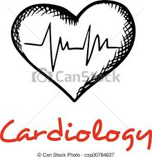 heart sketch icon with ecg graph cardiology concept with