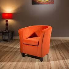 Tub Armchair Modern Large Comfy Burnt Orange Fabric Armchair Tub Chair New