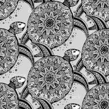 vector seamless monochrome pattern with ornamental turtles stock