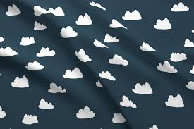 Baby Nursery Fabric Clouds Dark Grayish Blue Cloud Design For Baby Nursery Fabric
