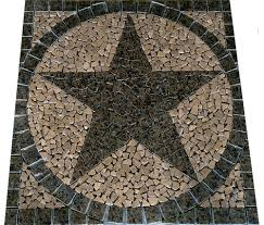 tropicial brown granite texas star mosaic marble medallion