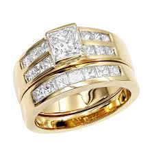 rings wedding set images 14k gold 2 carat princess cut diamond engagement ring wedding jpg