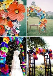 wedding arches on a budget handmade mexican paper flowers for ceremony decor from ken