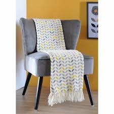 plaid gris pour canapé plaid pour canapé liée à plaid jeté de canapé gris à motifs jaunes