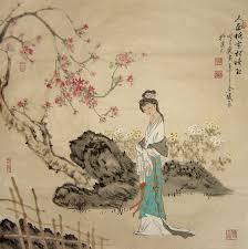 chinese painting beautiful lady peach blossom chinese painting