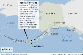 map of aleutian islands alaska volcano erupts ash cloud above aleutian islands prompts