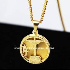 gold medallion necklace images Gold crucifixion jesus cross gold medallion necklace religious jpg