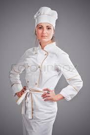 young woman in white chef dress with hat stock photo colourbox