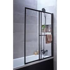 pare vent verre pare baignoire 2 volets pivotant coulissant 140 x 123cm verre