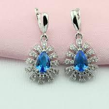 light blue semi precious stone wpaitkys light blue white semi precious stone silver color bridal