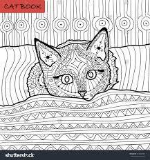 coloring book adults zentangle cat book stock vector 374009338
