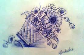 ink painting of flower basket desipainters com
