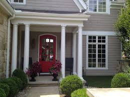exterior grayish house paint with red oor and white stripe