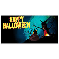 Happy Halloween Banners by Orange Creepy Monster Halloween Party Banner Backdrop Decoration