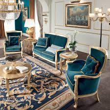 Living Room With Velvet Upholstery And Furniture Covered By Gold - Classic home furniture