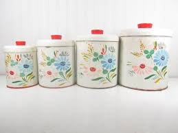 ransburg hand painted canister set retro canisters metal ransburg hand painted canister set retro canisters metal canister storage kitchen canisters