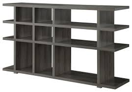 Particle Board Bookcase Weathered Gray Wood Bookcase Console Side Storage Table 15 Shelves