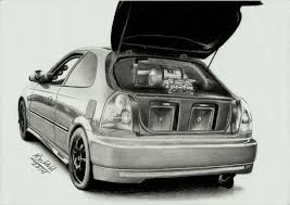 tuner honda civic honda civic 6 tuning realistic car drawing by maxbechtold on