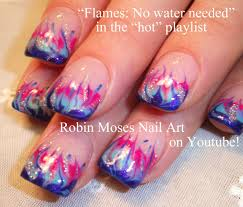 easy flame nail art no water marble technique fire and flames