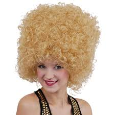 blonde wig halloween costume 70s seventies disco afro beehive blonde wig fancy dress halloween