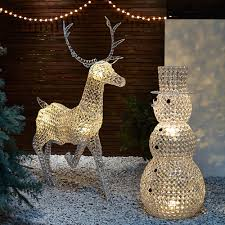Outdoor Christmas Decorations Reindeer And Sleigh Large Outdoor Light Up Reindeer Outdoor Designs