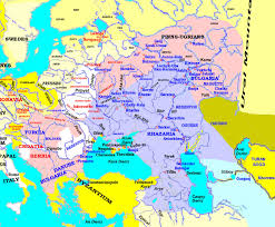 Volga River Map Map Showing The Major Varangian Greek And East Slavic Name For