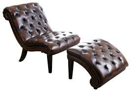 abbyson living encore tufted leather chaise lounge brown with