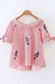 bird blouse white striped bird print shoulder knotted blouse womens