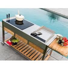 outdoor cooking cart made stainless steel and teak tomboy