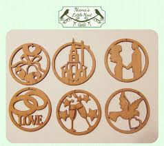 items similar to laser cut wood wedding ornaments set of 6 on etsy