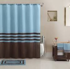 Gray And Brown Shower Curtain - beautiful blue brown shower curtain bath towel rug 13 hooks bath
