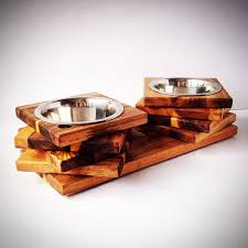 Wall Mount Pet Feeder Rustic Wood Pet Feeder Wooden Cat Or Small Dog Bowl Holder Cat