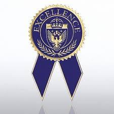 blue and gold ribbon certificate seal with ribbon excellence blue gold at baudville