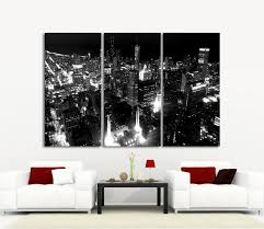 3 panel wood wall large wall canvas print chicago city skyline at 3