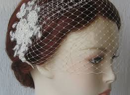 lace fascinator wedding fascinator with veil ivory birdcage veil and lace