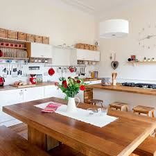 perfect inspirations for your ideal kitchen layout lestnic solid wooden table using contemporary interior design for ideal kitchen layout with white drum shaped pendant