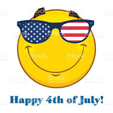 Flag Sunglasses Smiling Patriotic Yellow Cartoon Emoji Face Character With Usa