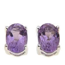 amethyst stud earrings sevilla silver 0 84ctw oval amethyst stud earrings 8435360 hsn