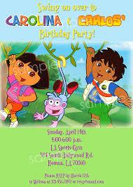 dora u0026 diego birthday diy printable party invitation 4x6
