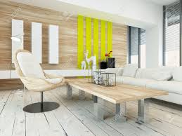 rustic wood veneer finish living room interior with wood